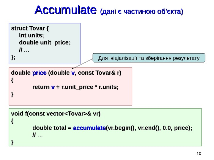Accumulate (( дані є частиною об '' єкта) struct Tovar { int units; double unit_price; //