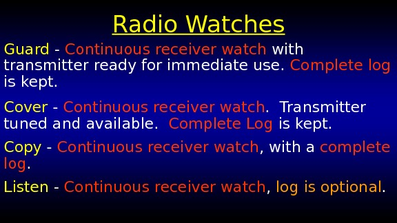 Radio Watches Guard - Continuous receiver watch with transmitter ready for immediate use.  Complete log