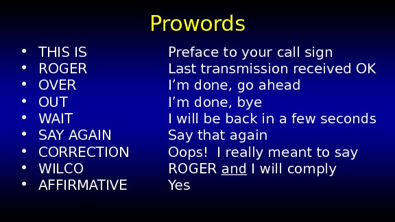 Prowords • THIS IS Preface to your call sign • ROGER Last transmission received OK •
