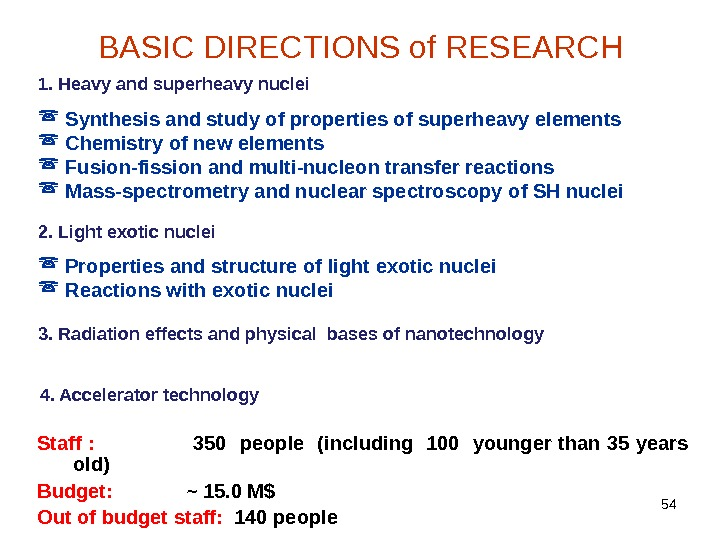 54 BASIC DIRECTIONS of RESEARCH 1. Heavy and superheavy nuclei Synthesis and study of properties of