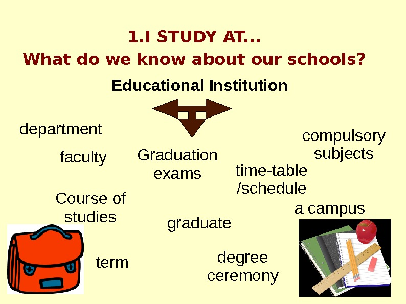 1. I STUDY AT. . . What do we know about our schools? Educational