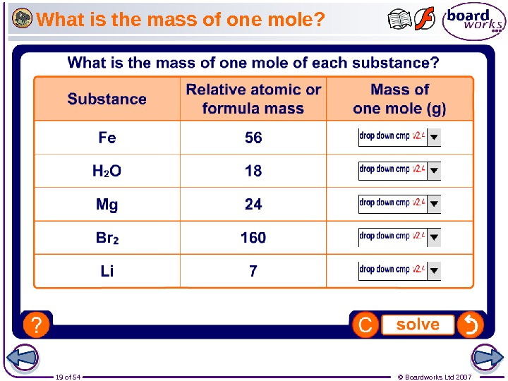 19 of 54 © Boardworks Ltd 2007 What is the mass of one mole?