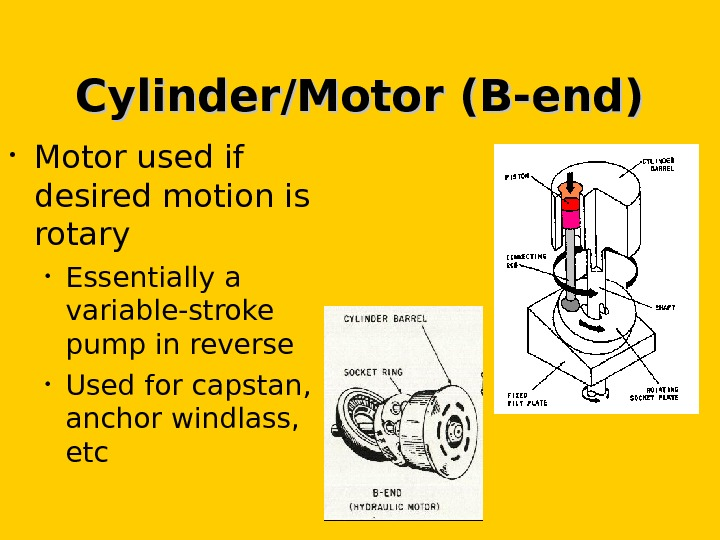 Cylinder/Motor (B-end) • Motor used if desired motion is rotary • Essentially a variable-stroke pump in