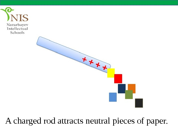 A charged rod attracts neutral pieces of paper.
