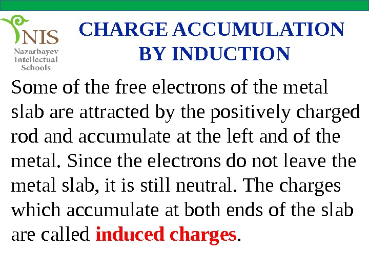 CHARGE ACCUMULATION BY INDUCTION Some of the free electrons of the metal slab are attracted by