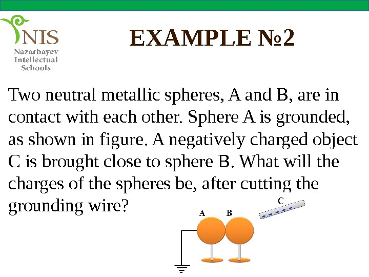 EXAMPLE № 2 Two neutral metallic spheres, A and B, are in contact with each other.