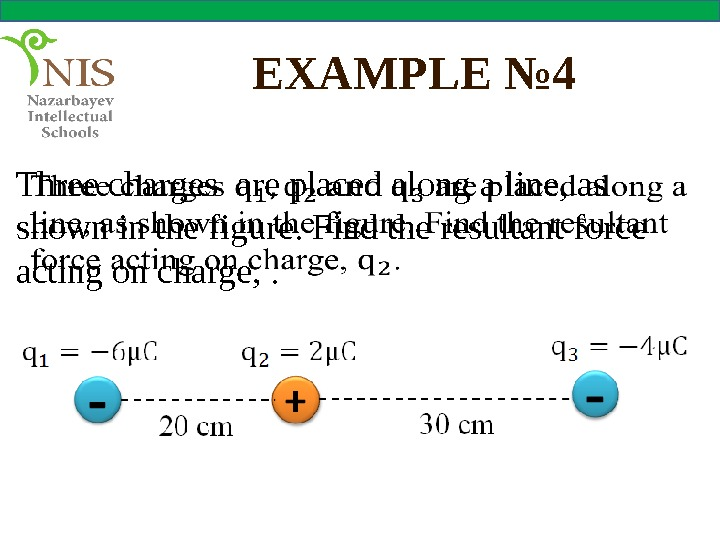 EXAMPLE № 4 Three charges are placed along a line, as shown in the figure. Find