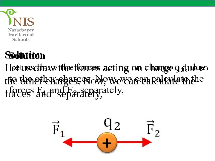 Solution Let us draw the forces acting on charge , due to the other charges. Now,