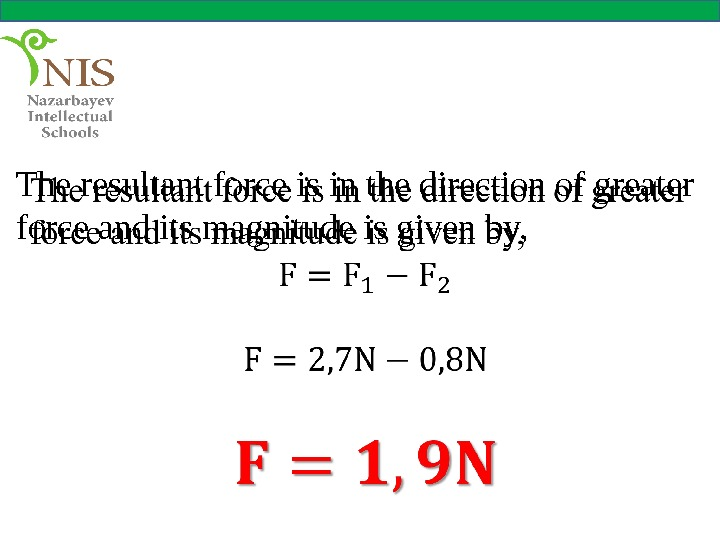 The resultant force is in the direction of greater force and its magnitude is given by,