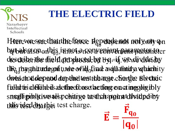 THE ELECTRIC FIELD Here we see that the force depends not only on q but also