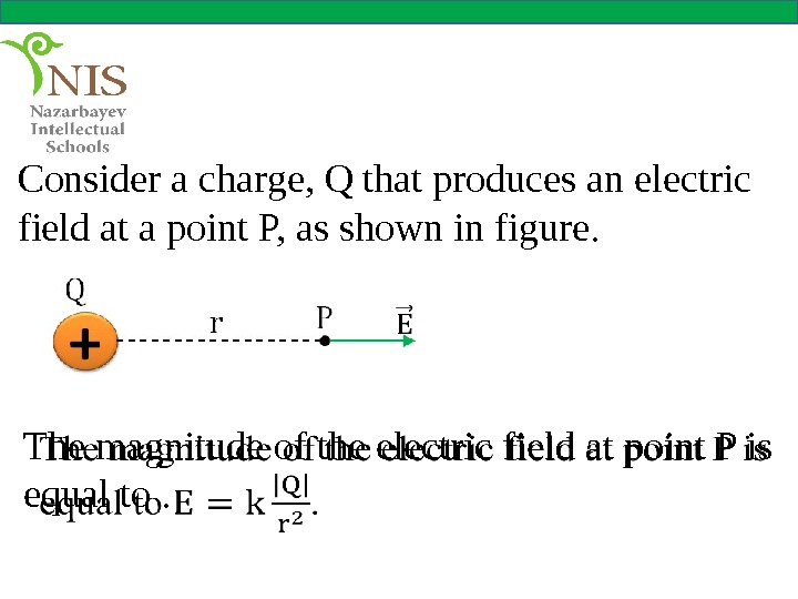 Consider a charge, Q that produces an electric field at a point P, as shown in