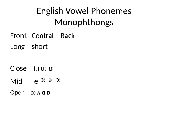 English Vowel Phonemes Monophthongs Front  Central  Back Long  short Close  i: ɪ
