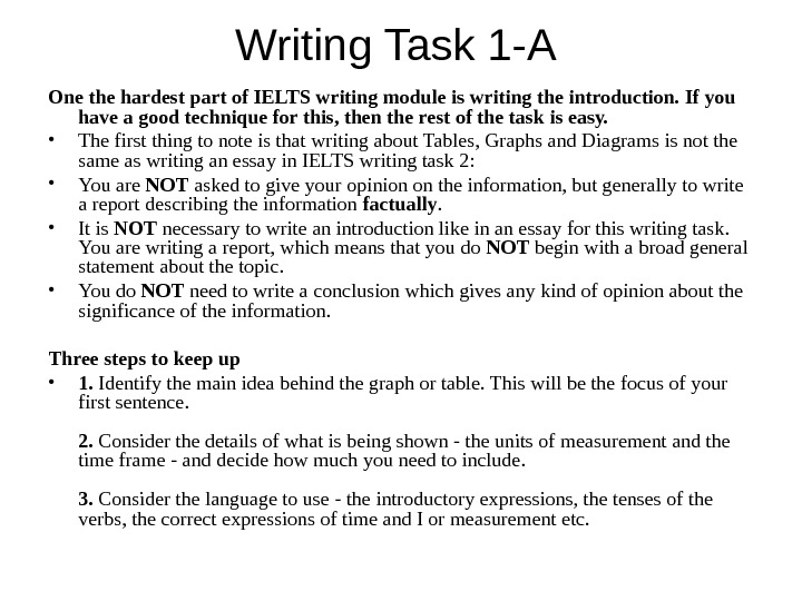 Writing Task 1 -A One the hardest part of IELTS writing module is writing the introduction.
