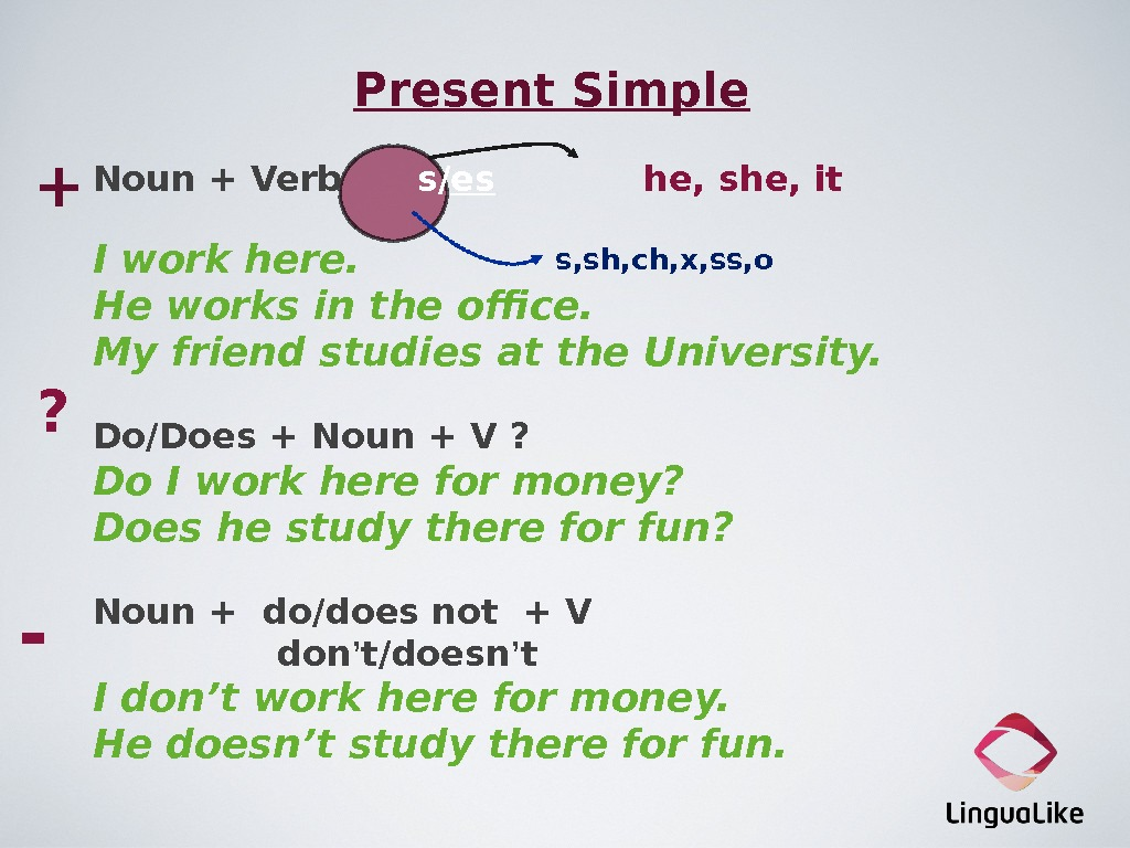 Present Simple Noun + Verb  s/ es   he, she, it  I work