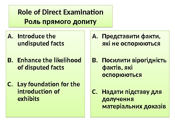 Role of Direct Examination Роль прямого допиту A. Introduce the undisputed facts B. Enhance the likelihood