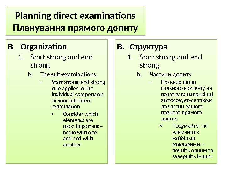 Planning direct examinations Планування прямого допиту B. Organization 1. Start strong and end strong b. The