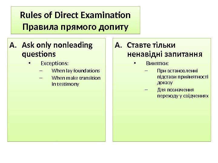Rules of Direct Examination Правила прямого допиту A. Ask only nonleading questions • Exceptions: – When