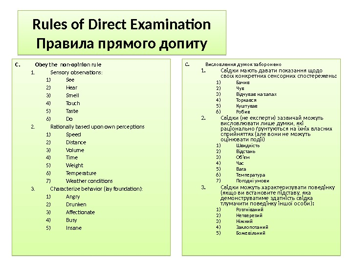 Rules of Direct Examination Правила прямого допиту C. Obey the non-opinion rule 1. Sensory observations: 1)