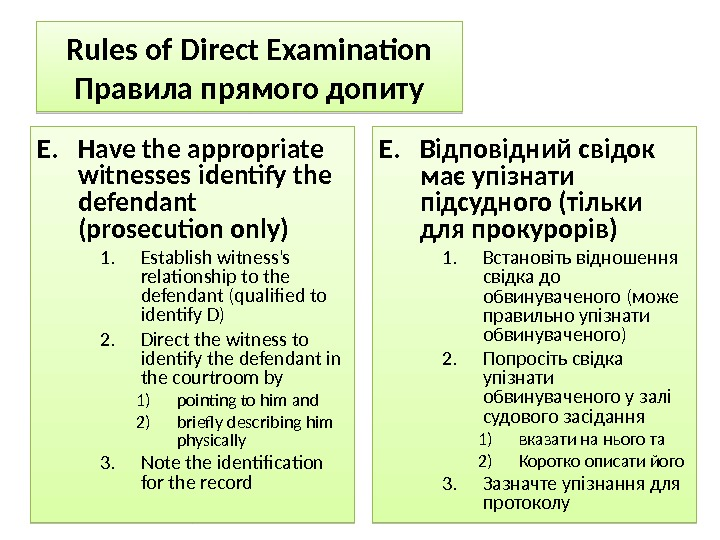 Rules of Direct Examination Правила прямого допиту E. Have the appropriate witnesses identify the defendant (prosecution