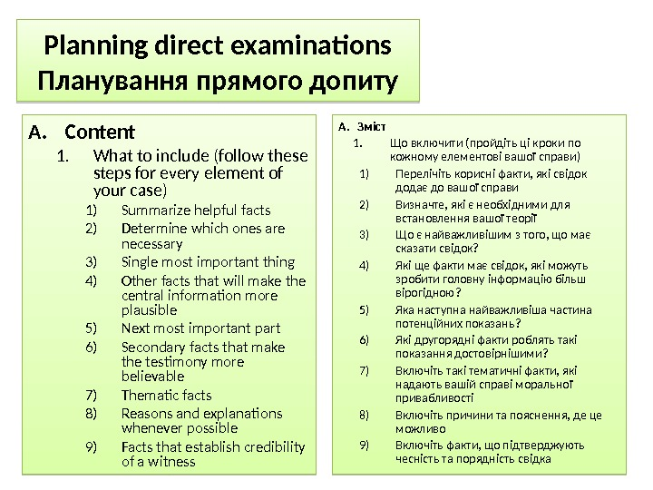 Planning direct examinations Планування прямого допиту A. Content 1. What to include (follow these steps for