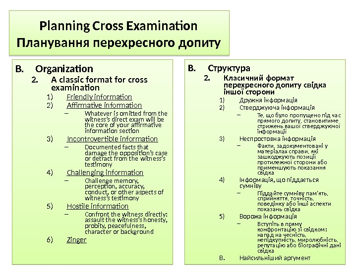 Planning Cross Examination Планування перехресного допиту B. Organization 2. A classic format for cross examination 1)
