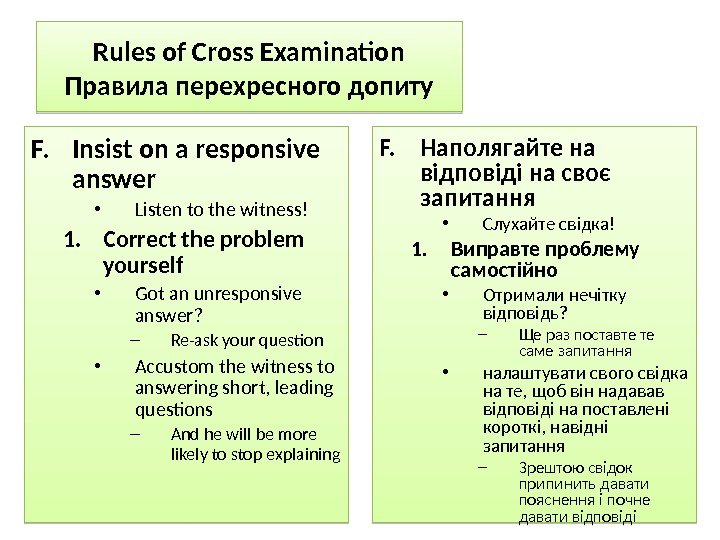 Rules of Cross Examination Правила перехресного допиту F. Insist on a responsive answer • Listen to