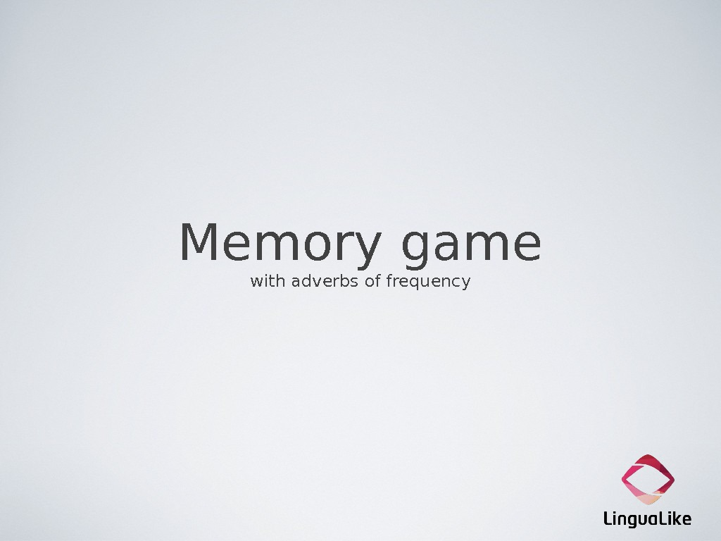 Memory game with adverbs of frequency