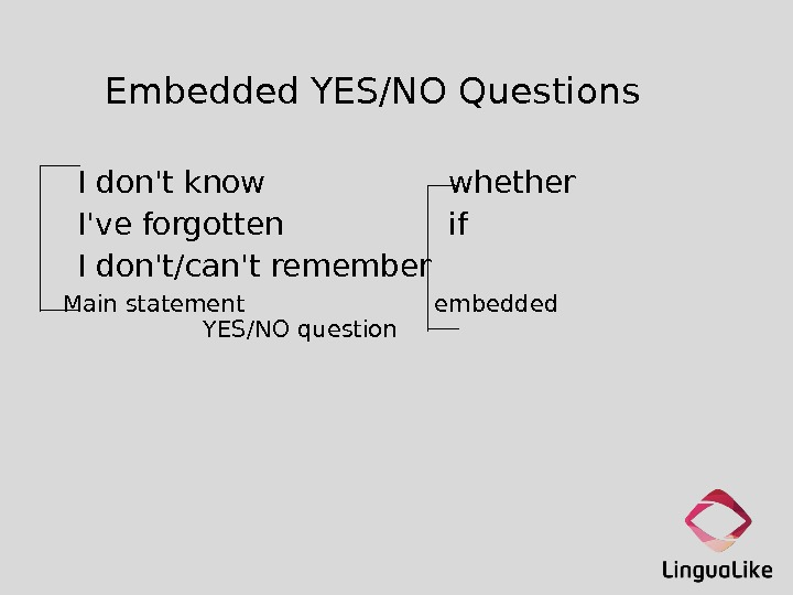 Embedded YES/NO Questions  I don't know whether I've forgotten if I don't/can't remember  Main