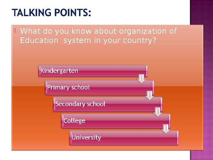 What do you know about organization of Education system in your country?