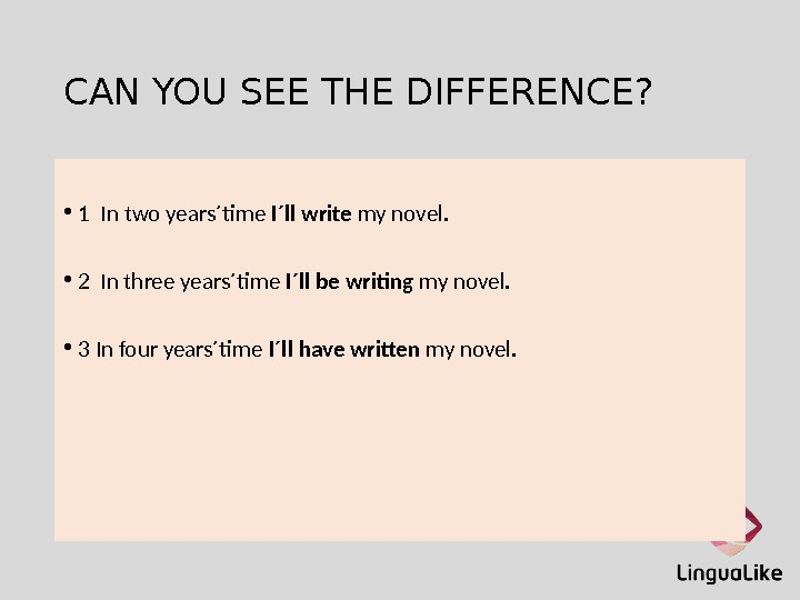 CAN YOU SEE THE DIFFERENCE?  • 1 In two years´time I´ll write my novel.