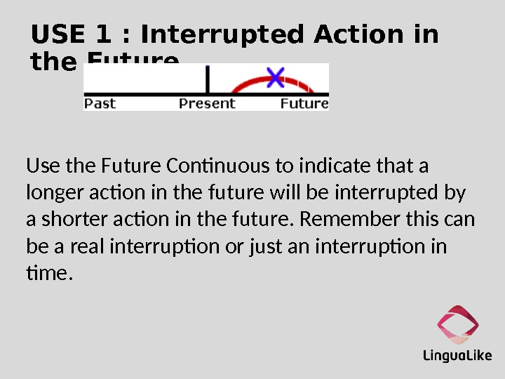 USE 1 : Interrupted Action in the Future Use the Future Continuous to indicate that a