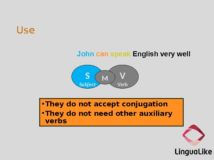 Use • They do not accept conjugation • They do not need other auxiliary verbs S