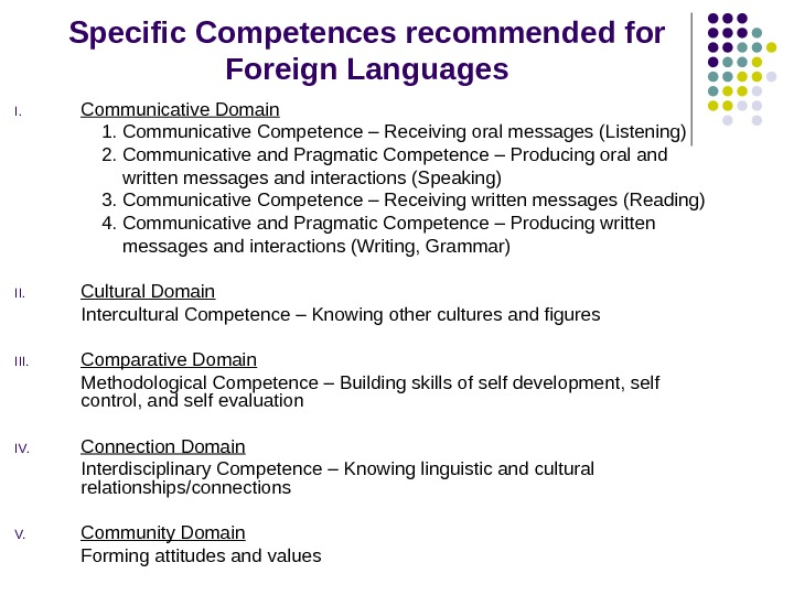 Specific Competences recommended for Foreign Languages I. Communicative Domain 1. Communicative Competence – Receiving oral messages