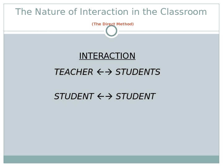 The Nature of Interaction in the Classroom  (The Direct Method)  INTERACTION TEACHER STUDENTSTUDENT