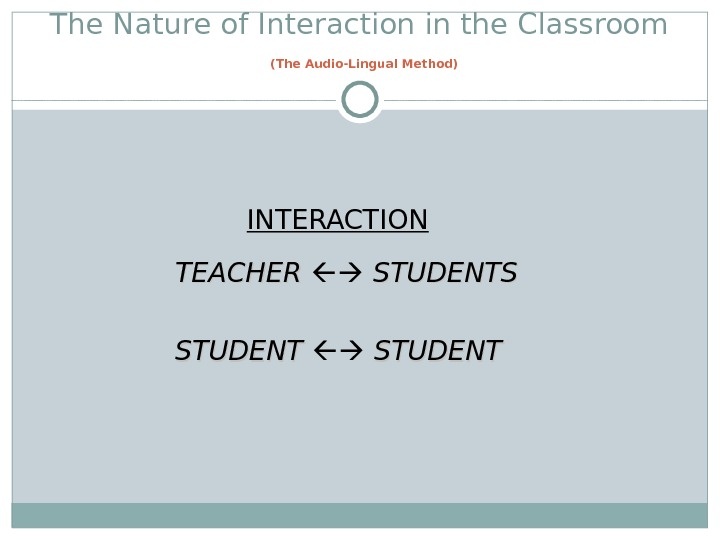 The Nature of Interaction in the Classroom  (The Audio-Lingual Method)