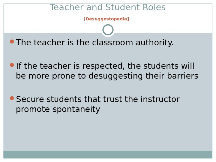 Teacher and Student Roles [ Desuggestopedia]  The teacher is the classroom authority.  If the