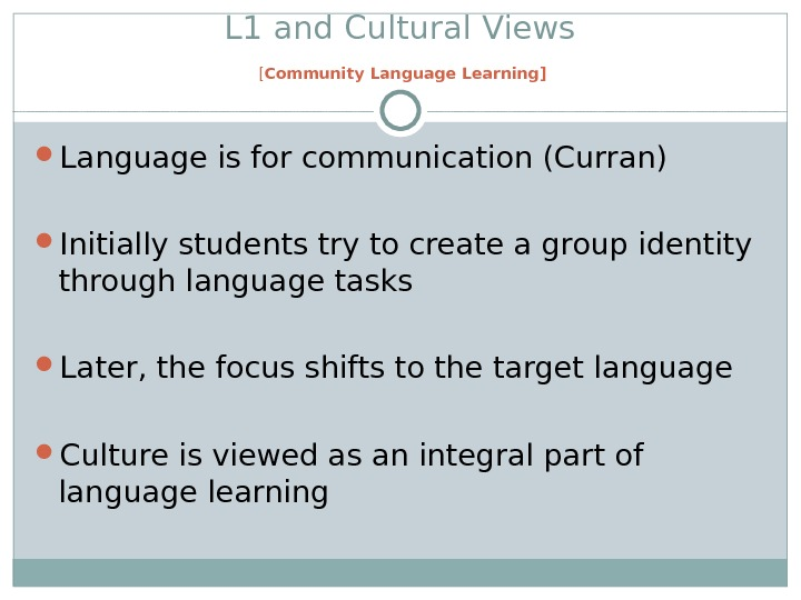 L 1 and Cultural Views [ Community Language Learning] Language is for communication (Curran) Initially students