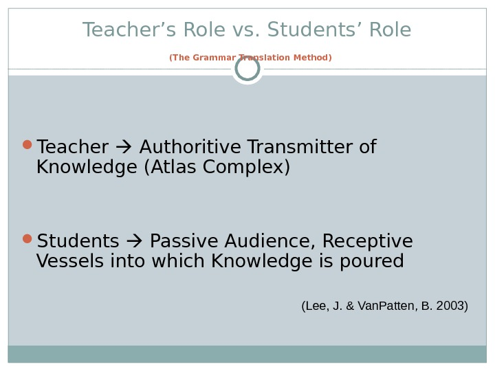 Teacher's Role vs. Students' Role  (The Grammar Translation Method) Teacher  Authoritive Transmitter of Knowledge