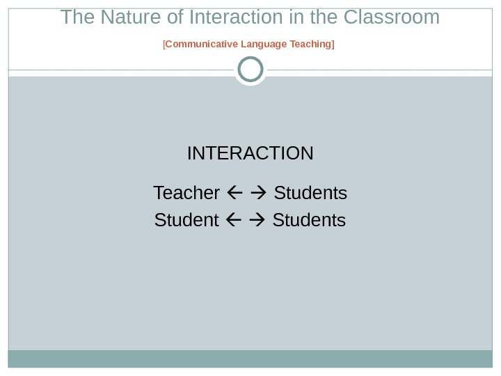 The Nature of Interaction in the Classroom [ Communicative Language Teaching ]  INTERACTION Teacher