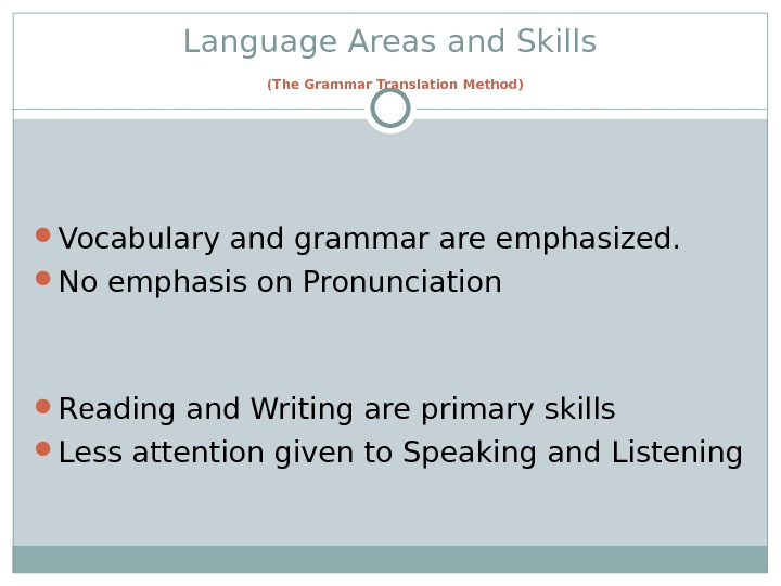 Language Areas and Skills  (The Grammar Translation Method) Vocabulary and grammar are emphasized.  No