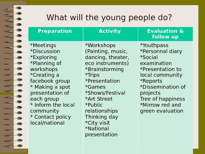 What will the young people do? Preparation Activity Evaluation & follow up *Meetings *Discussion *Exploring *Planning
