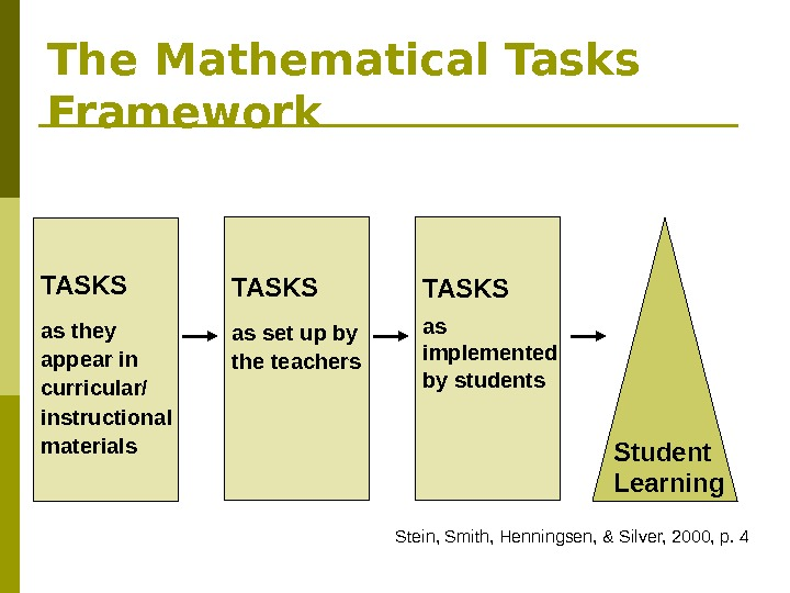 The Mathematical Tasks Framework TASKS  as they appear in curricular/ instructional materials TASKS as set