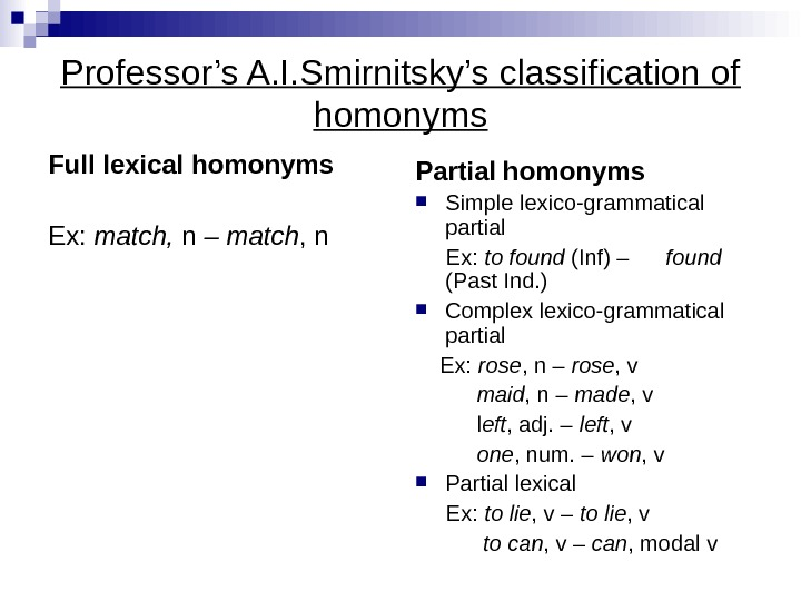 Professor's A. I. Smirnitsky's classification of homonyms Full  lexical homonyms Ex:  match,  n