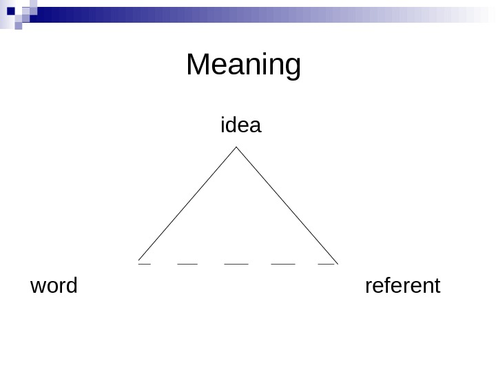 Meaning       idea word    referent