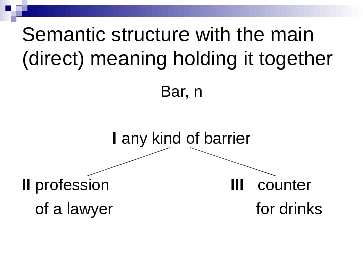 Semantic structure with the main (direct) meaning holding it together Bar, n I any kind of