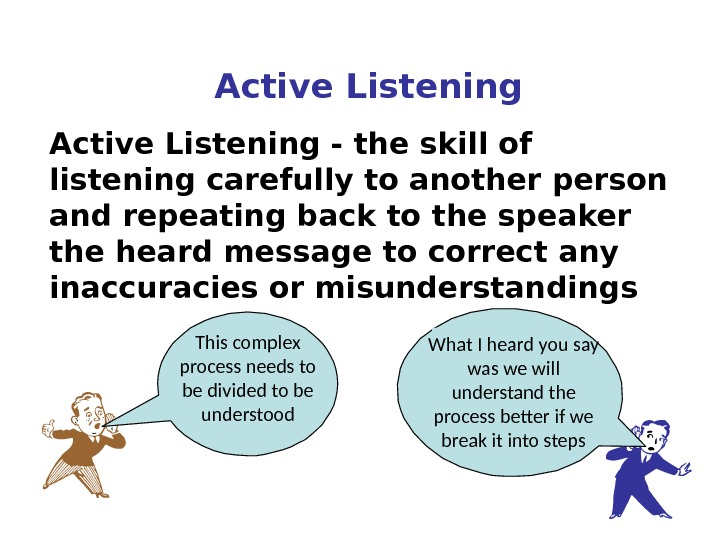 Active Listening - the skill of listening carefully to another person and repeating back to the