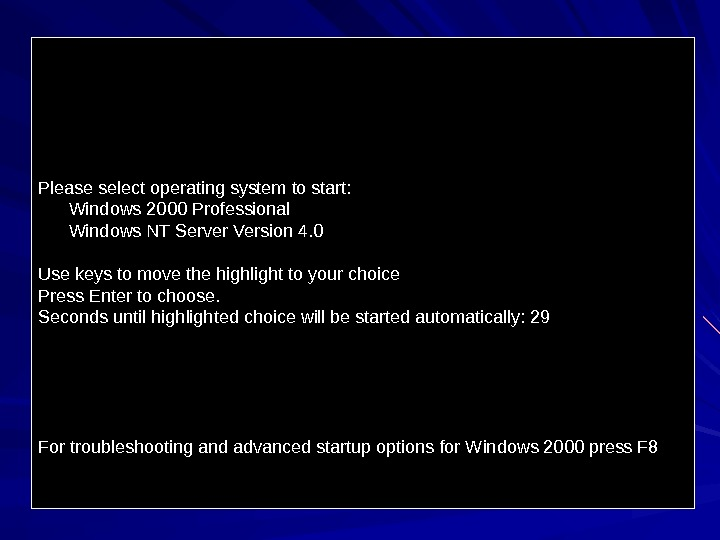 Please select operating system to start:   Windows 2000 Professional  Windows NT Server