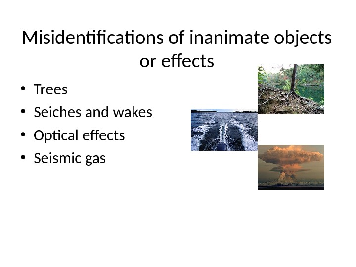 M isidentifications of inanimate objects or effects • Trees • Seiches and wakes • Optical effects