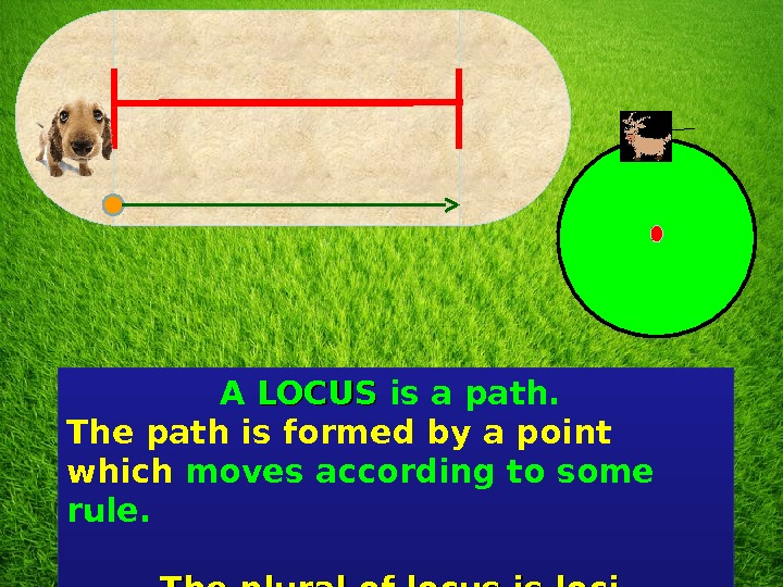 A LOCUS is a path.  The path is formed by a point which moves according