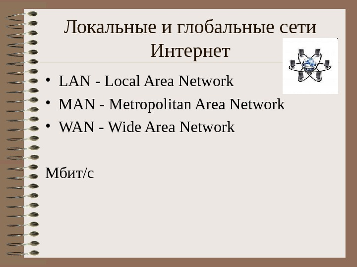 Локальные и глобальные сети Интернет • LAN - Local Area Network • MAN -